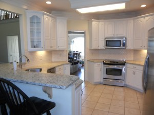 The new white kitchen cabinets really lightens up the space and gives a clean fresh look.