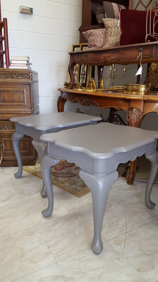 Set Of Matching End Tables Painted In Gauntlet Gray