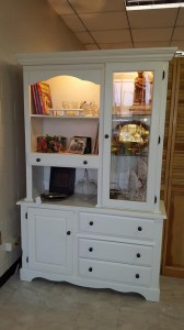 White painted kitchen hutch